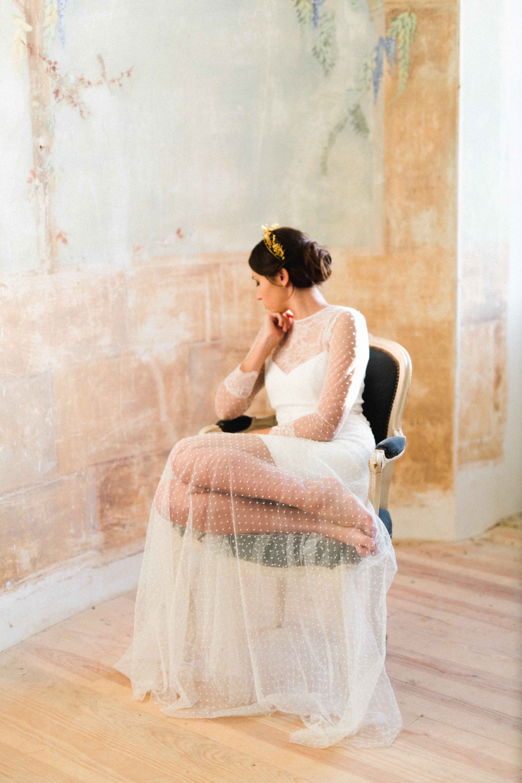 Editorial Chateau de Caumale con vestidos diseñados por Luis Alonso